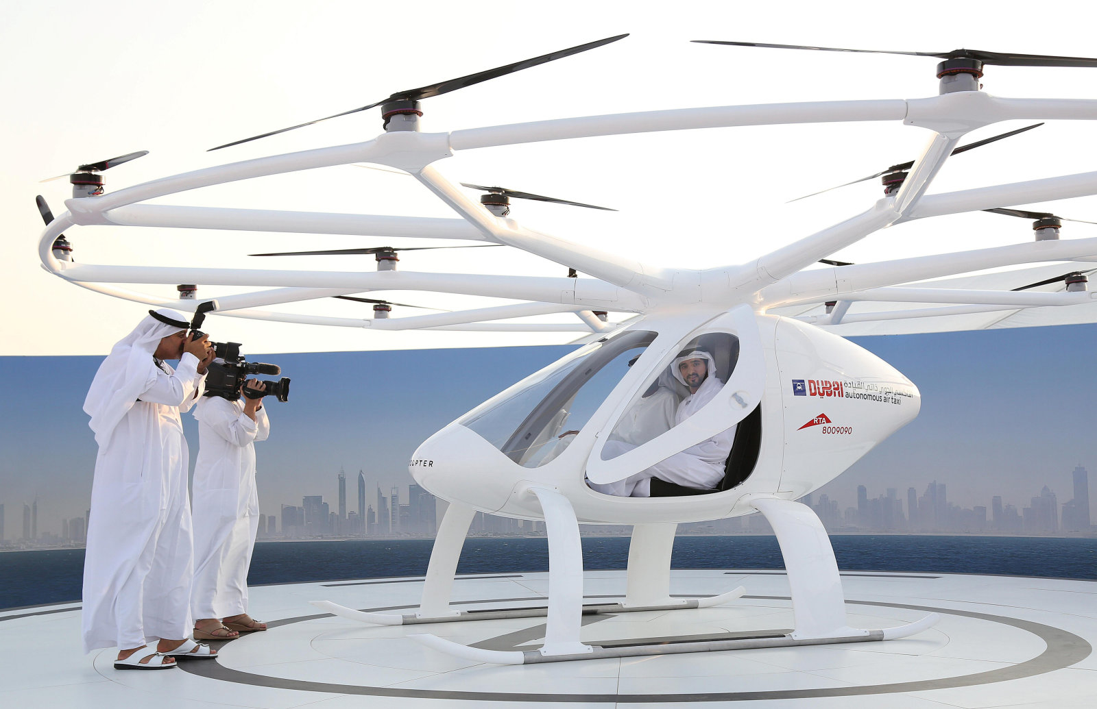 Dubai Crown Prince Sheikh Hamdan bin Mohammed bin Rashid Al Maktoum is seen inside the flying taxi in Dubai